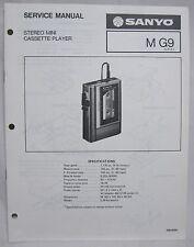SANYO M-G9 Mini Cassette Recorder Original SERVICE MANUAL walkman