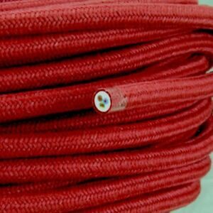 Textilkabel-Leitung-Faser-umflochten-rund-Abaca-Cherry-3x0-75-H03VV