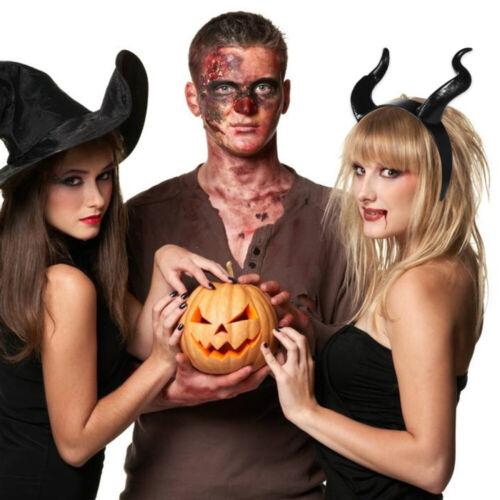 Demon Evil cosplay Headwear Pure Black OX Horns Gothic Halloween Prop Headband