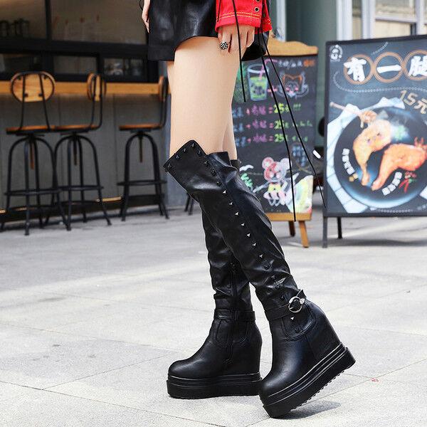 Stiefel up knie plattform 11 cm keilabsätze schwarz elegant simil leder 9527