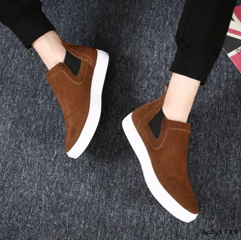 Vintage Mens Suede Chelsea Ankle Boots High Top Slip On Sneaker Casual shoes New