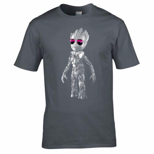 DJ Baby Groot T-Shirt Headphones Music Galaxy Party Disco Mens Yoda Standing