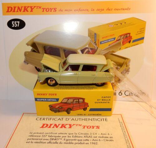 DINKY TOYS ATLAS CITROEN AMI 6 VERT TILLEUL REF 557 CAPOT COFFRE OUVRANTS 1//43
