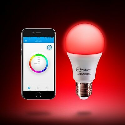 AURAGLOW 9W E27 Bluetooth Colour Changing Warm/Cool 60W Eqv LED Smart Light Bulb