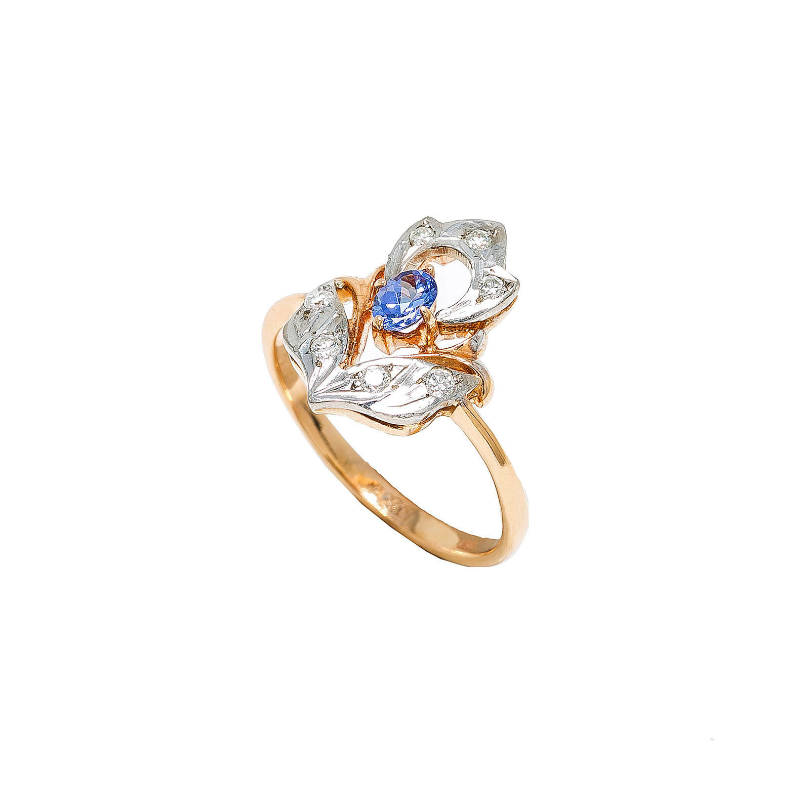 14K Two Tone pink gold Tanzanite 0.11 Ct Diamond Ring 3.8 Grams Size 7
