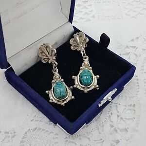 Vintage-Renacimiento-Egipcio-Escarabajo-pendientes-de-clip-en-Tono-Plata-Colgantes-Verde-Azul