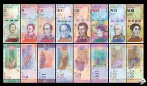 VENEZUELA-2-500-BOLIVARES-2018-SET-OF-8-BANKNOTES-UNC