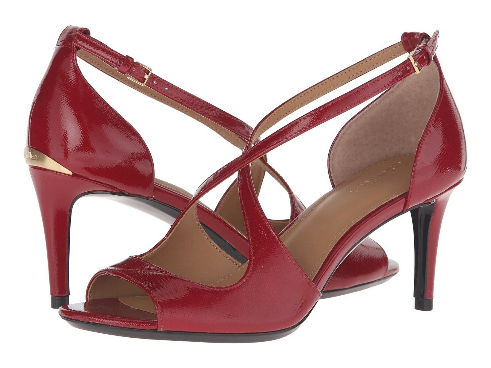 New Calvin Klein Womans Heels Landria ROT Strappy Patent Leder