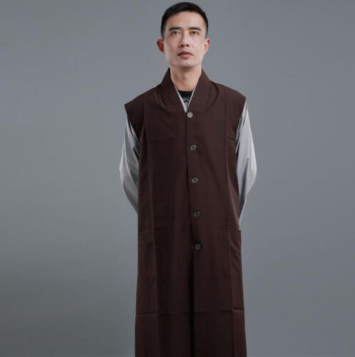 Fashion Unisex Shaolin Buddhist Monk Garan Coats Robes Meditation Gown Long Vest Robes