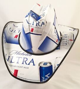 Beer Box Cowboy Hat made from recycled Michelob Ultra beer boxes
