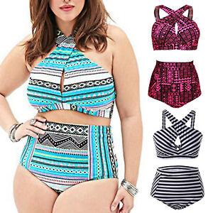 Plus-Size-Women-Bandage-Swimwear-Bikini-Set-High-Waist-Padded-Beachwear-Swimsuit