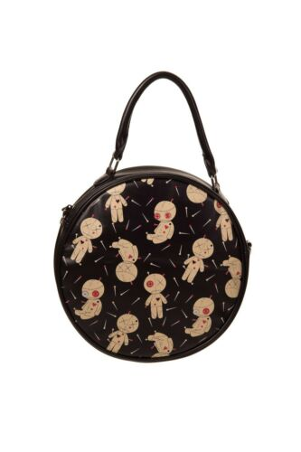 #3152 196 Banned Distractions Round Bag Tasche Voodoo Puppe Nadeln Gothic Schw