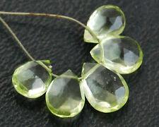 Lime Green Quartz Faceted Pear Briolette Beads