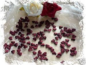 100 Satinherzen Herzen Deko Hochzeit Kommunion Bordeaux Ebay