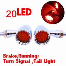 Universal Red 20 LED Chrome Motorcycle Stop Brake/Running Turn Signal Tail Light