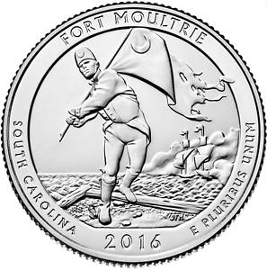 ORIGINAL BANK WRAPPED QUARTER ROLL 2016-P FORT MOULTRIE NATIONAL PARK