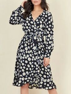 BNWT-New-Black-Daisy-Floral-Print-Wrap-Midi-Dress-Size-8