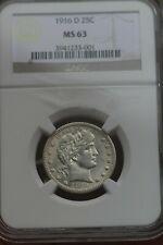 1916 D 25C Barber Quarter Dollar NGC MS63 Mint State