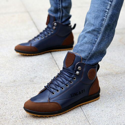 Stylish Men/'s Leather Waterproof Light Boots High Top Lace Up Warm Casual Shoes
