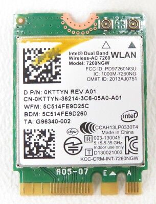 Dell Wireless-AC 7260 Precision M3800 Bluetooth 4.0 Wireless Card 7260NGW KTTYN