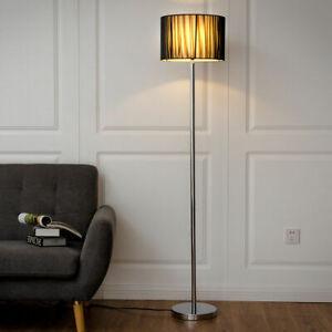 Details about Modern Floor Lamp Sheer Shade Lighting Livingroom Bedroom w/  LED Bulb Black