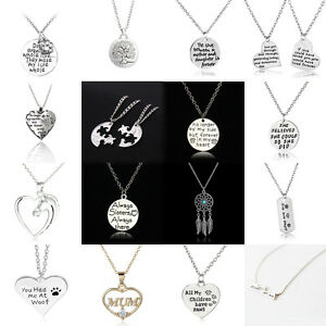 Family-Friends-Heart-Mother-Mom-Daughter-Horse-Dog-Tag-Paw-Crystal-Necklaces-BFF