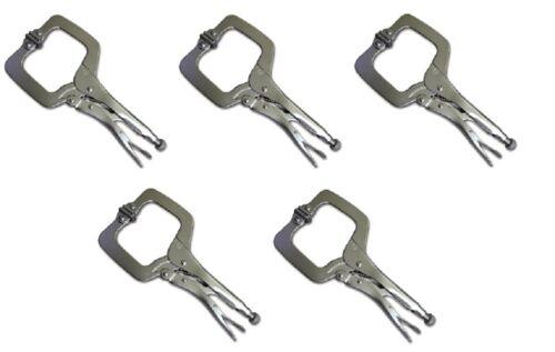 """5 Pack 11/"""" Verrouillage C Clamp Réglable Pince Grip avec pivotant Pad Étau Mâchoires NEUF"""