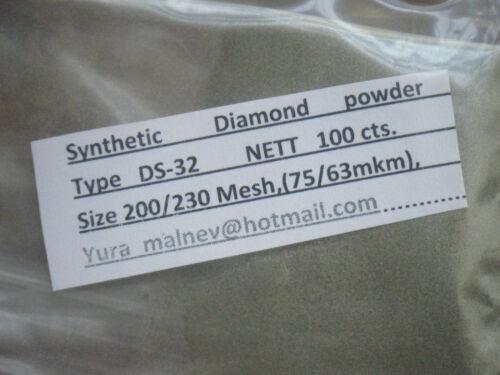 Synthetic Diamond Powder 200//230 Mesh 100 carats = 20 Gram Weight 200 Grit