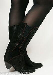 Leder-Damenstiefel-Lederstiefel-Vintage-80s-Stiefel-Boho-Boots-Blogger-36-5-37