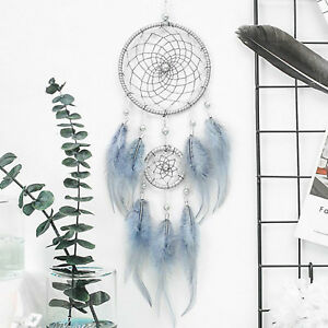 18-034-Blue-Large-Handmade-Feather-Dream-Catcher-Car-Wall-Hanging-Ornament-Craft-US