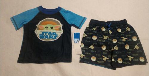 NWT Star Wars Mandalorian Baby Yoda The Child Rashguard Swim Set Toddler Boy