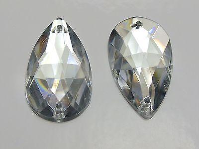 50 Clear Flatback Acrylic Big Sewing Rhinestone Teardrop Sew On Beads 28X17mm