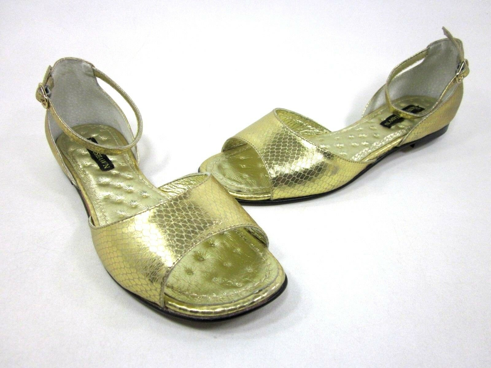 SHANE & SHAWN WOMEN'S PICKENS ANKLE-STRAP SANDAL, gold US 7, MEDIUM, NEW W O BOX