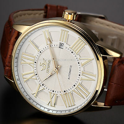 Fashion Mens Automatic Mechanical White Coffee Date Leather Analog Wrist Watch