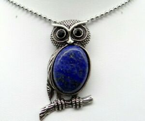 Natural-lapis-Gem-beads-animal-Owl-Retro-Silver-Pendant-necklace-Jewelry-P1
