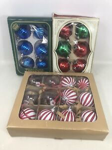 VTG-3-Boxes-Christmas-Tree-Glass-Ornaments-Balls-Shiny-Bright-Visions-24-Total