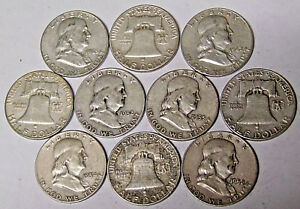 Lot-of-10-Franklin-Silver-Half-Dollars-5-Face-Value-90-Silver-Coins