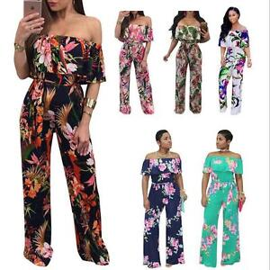 616db1c344e0 Details about New Jumpsuit Floral   Leaf Printed Long Jumpsuit off Shoulder  Ruffle jumpsuit
