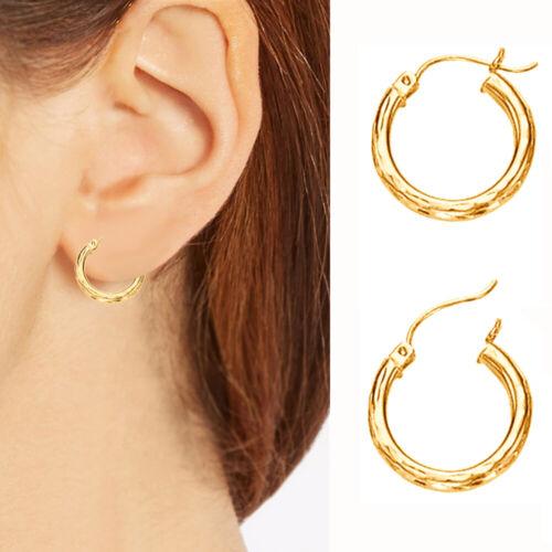 10K Real Yellow Gold Small DC Tubular Hoop Earrings 15mm x 2mm