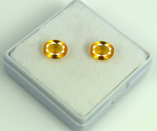 Yellow Sapphire 2.65 Carat Oval Cut Loose Gemstone Pair Natural AGSL Certified