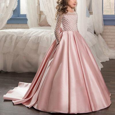 Flower Girls Lace Dress Long Sleeve Ball Gown for Kids Wedding Formal Communion