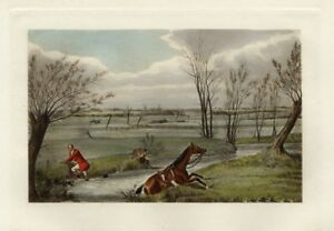 FOX-HUNTING-RED-COAT-FOX-HUNTER-WITH-WHIP-AND-HORSE-TAKE-A-SPILL-IN-THE-BROOK