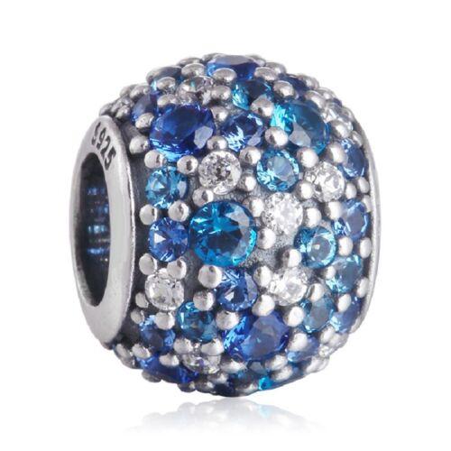 neuf authentique Charm argent 925 Mixed Pave CZ Blue argent fin Charm beads