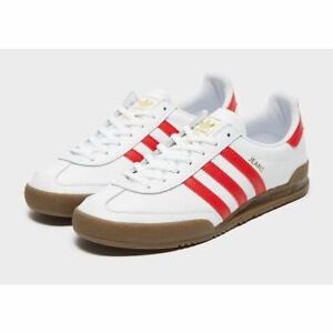 Details about adidas Originals Jeans Mens Trainers White Red Leather Shoes All Sizes