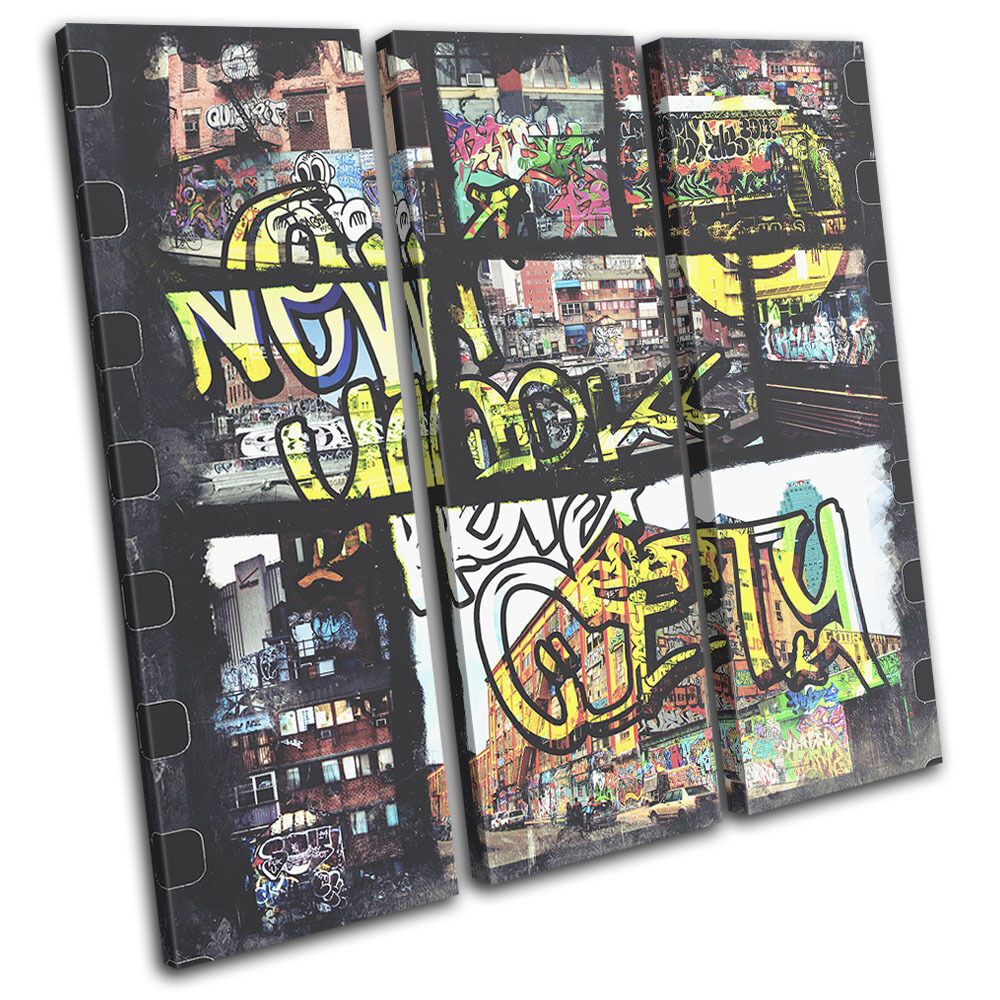 New New New York Graffiti Grunge City TREBLE TELA parete arte foto stampa 84dfaa