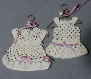Christmas-Ornament-Crochet-DRESSES-Lot-of-2-RANA-039-S-VARIETY-USA-SELLER