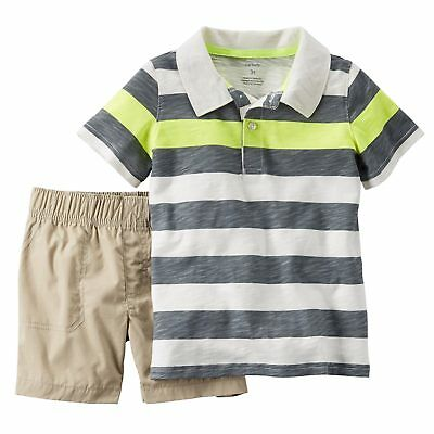 Carters Infant Boys 2-Piece Shark /& Scuba Diver Polo T-Shirt /& Short Set