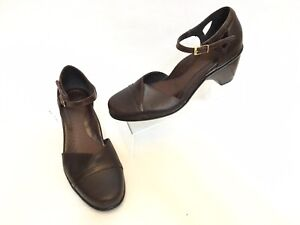 Dansko-Women-039-s-Brown-Leather-Cone-Heel-Ankle-Strap-Closed-Toe-Shoes-EUR-39