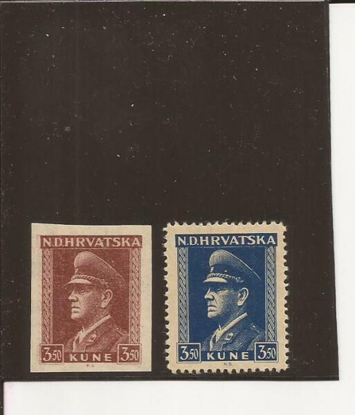 Croatie (yougoslavie) - (1943-4) Unlisted Trial Color (signé) Et Un Autre Timbre-avia)-(1943-4) Unlisted Trial Color ( Signed) & Another Stamp