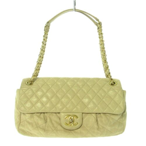 Auth CHANEL Matelasse Beige Sparkling Leather Shou